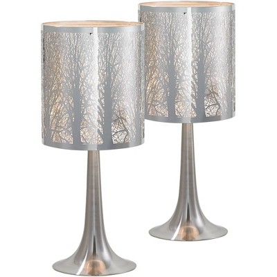 """Possini Euro Design Modern Accent Table Lamps 19"""" High Set of 2 Chrome Laser Cut Tree Branch Pattern Shade for Bedroom Bedside"""