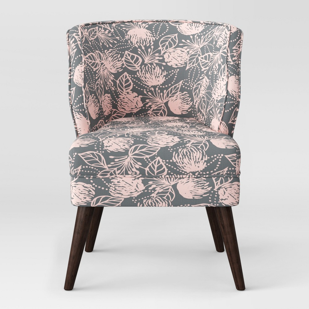 Mandolene Mid Century Arm Chair Gray & Pink Floral - Project 62