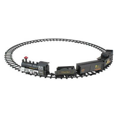 Northlight 15-Piece Pre-Lit Gray Battery Operated and Animated Classic Train Set with Sound 8.75""