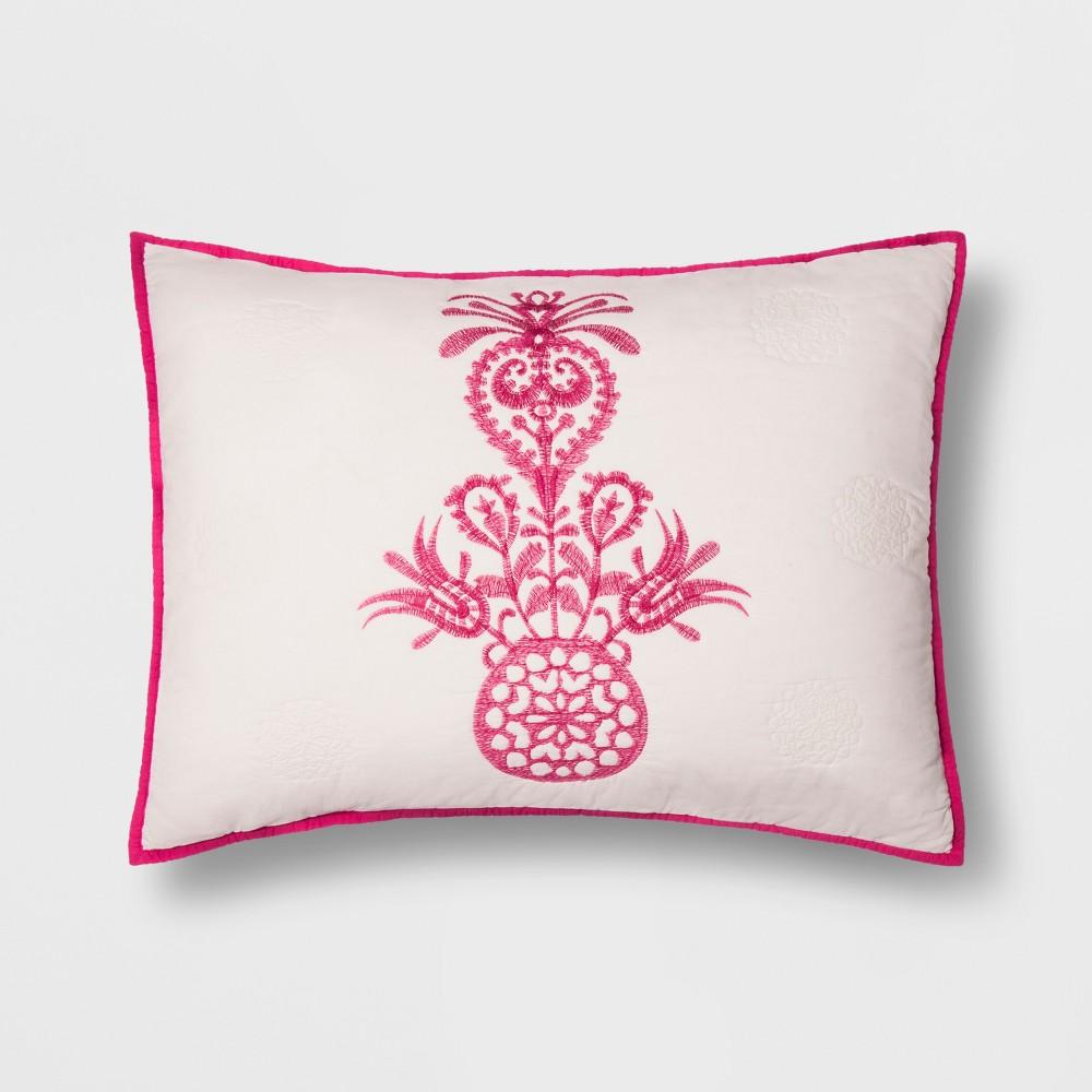 Pink Mallorca Embroidered Ornament Sham (Euro) - Opalhouse