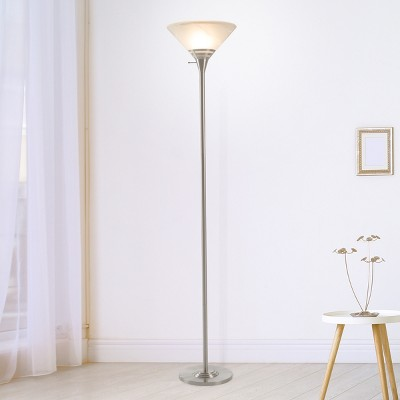 Torchiere Floor lamp Medium Silver (Includes LED Light Bulb) - Lavish Home
