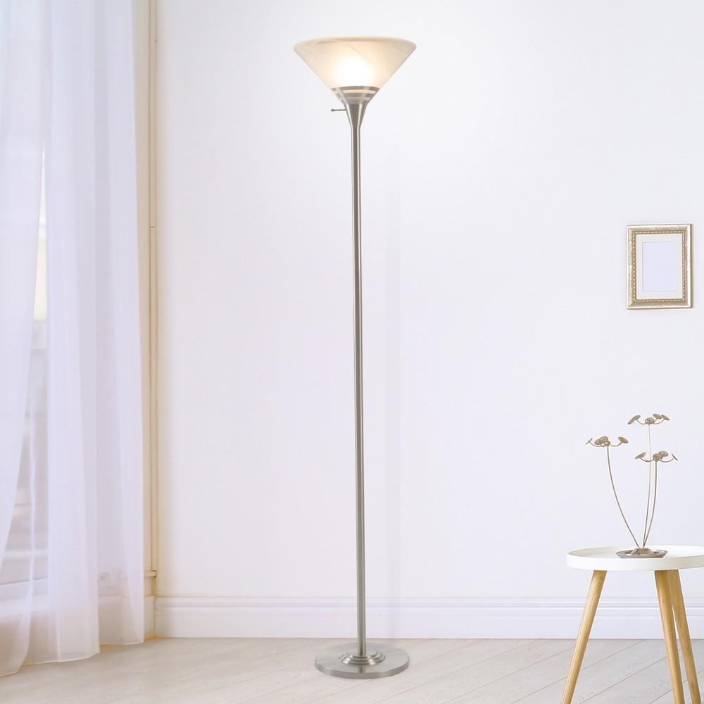 Image of Torchiere Floor lamp Medium Silver (Includes Energy Efficient Light Bulb) - Lavish Home