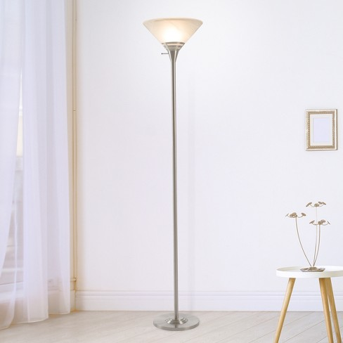 Torchiere Floor lamp Medium Silver (Includes Energy Efficient Light Bulb) - Lavish Home - image 1 of 6