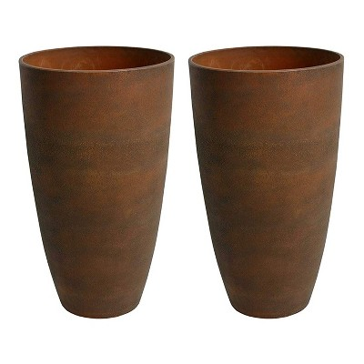 Algreen 43729 Acerra Weather Resistant Recycled Composite Vase Planter Pot 12 x 12 x 20 Inches, Rust (2 Pack)