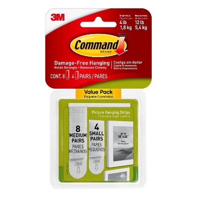 Command Small and Medium Sized Picture Hanging Strips White