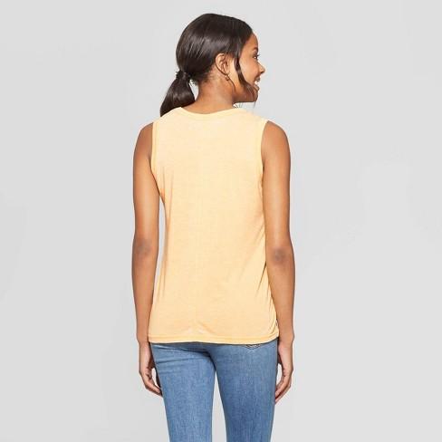 959114e5 Women's Short Sleeve Tough As A Mother Scoop Neck Tank Top - Grayson Threads  (Juniors') - Yellow : Target