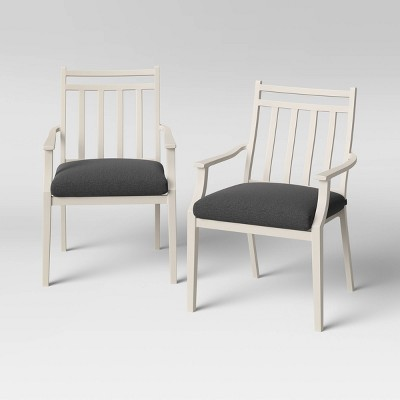 Fairmont 2pk Stationary Patio Dining Chairs - White/Charcoal - Threshold™