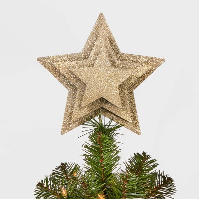 10in Unlit Multi-Layer Star Tree Topper Champagne Gold - Wondershop™