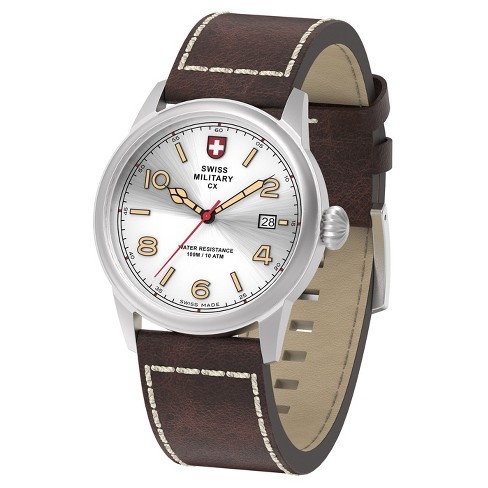 Men's Swiss Military by Charmex Vintage silver tone leather band watch - Brown - image 1 of 2