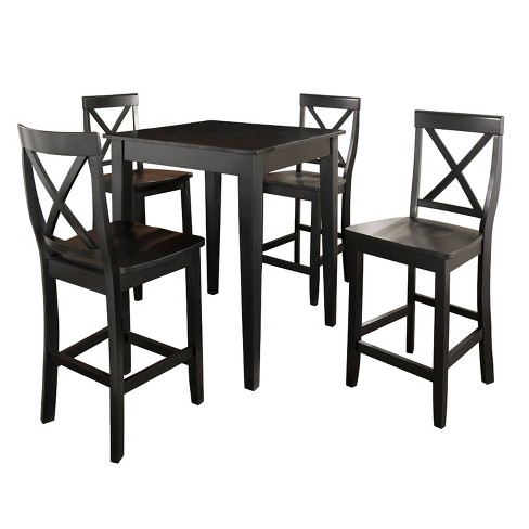 5pc Pub Dining Set With X Back Stools, Dining Room Sets Pub Style
