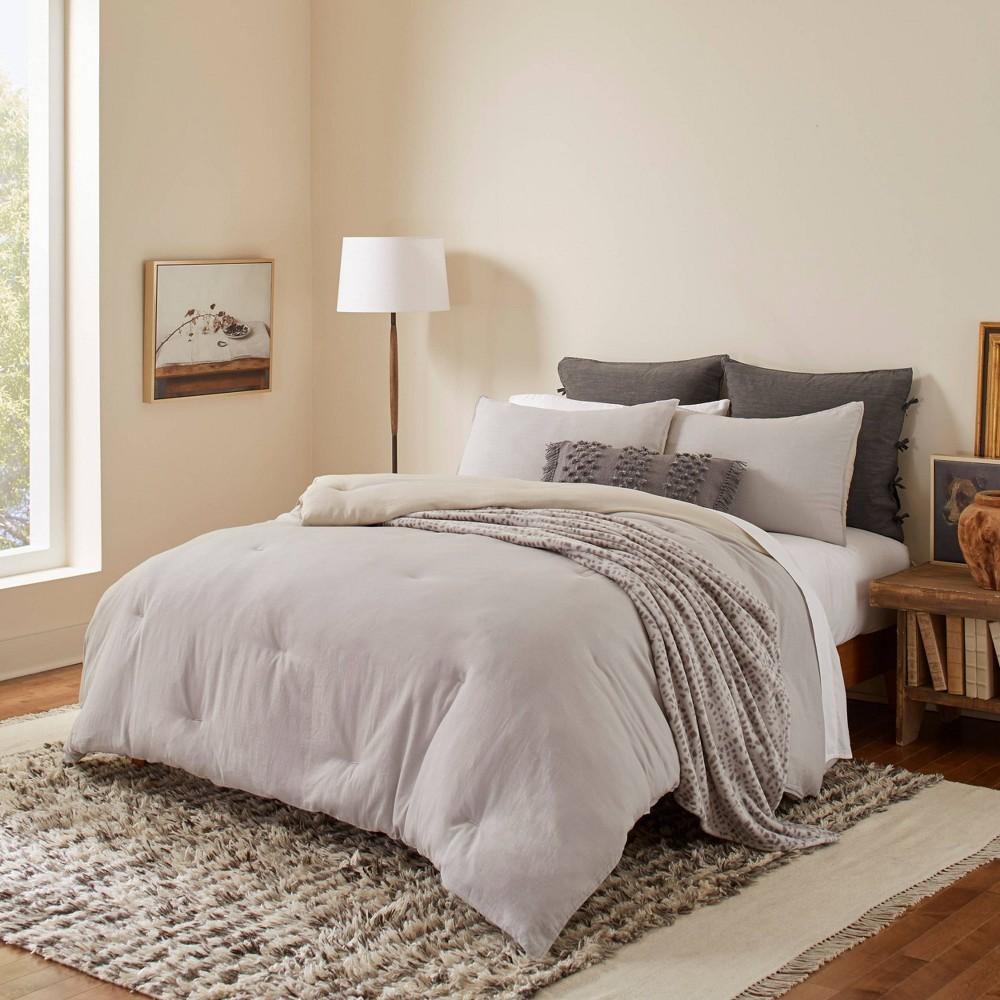 Image of King Washed Cotton Comforter Set Gray - ED by Ellen DeGeneres
