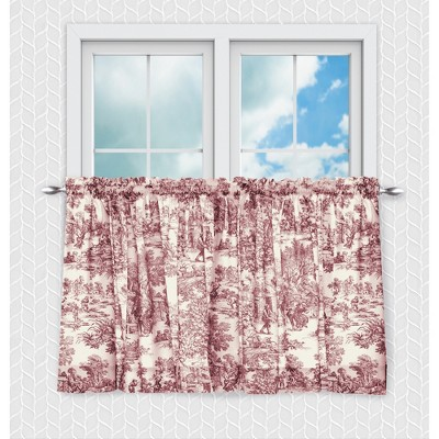 Ellis Curtain Victoria Park Toile Design Printed Room Darkening 2-Piece Window Rod Pocket Pair Set With 2 Tiers