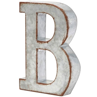 8 In Rustic Letter Wall Decoration B Galvanized Metal 3D Letter for Home Birthday Wedding Events Decor