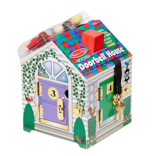 Melissa & Doug Take-Along Wooden Doorbell Dollhouse - Doorbell Sounds, Keys, 4 Poseable Wooden Dolls image number null