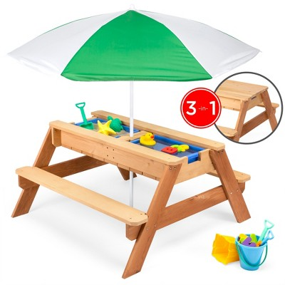 Best Choice Products Kids 3-in-1 Outdoor Convertible Wood Activity Sand & Water Picnic Table w/ Umbrella, 2 Play Boxes