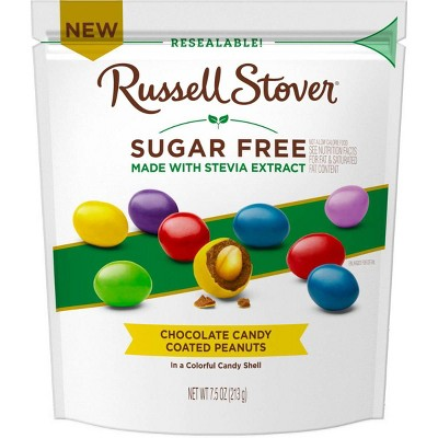 Russell Stover Sugar Free Candy Coated Chocolate Covered Peanuts - 7.5oz