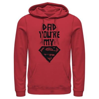 Men's Superman Father's Day Dad My Hero Pull Over Hoodie
