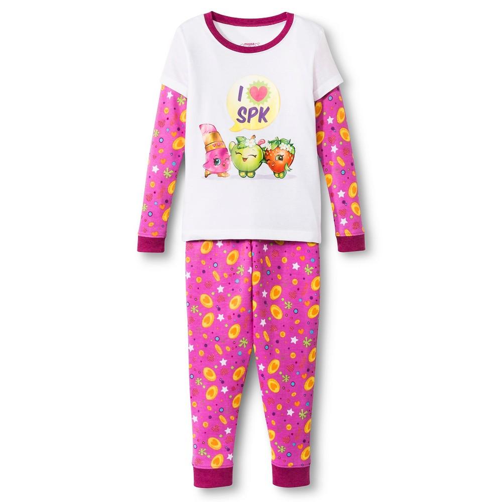 Girls' Shopkins Fruit Pattern Pajama Set - Pink/White 8