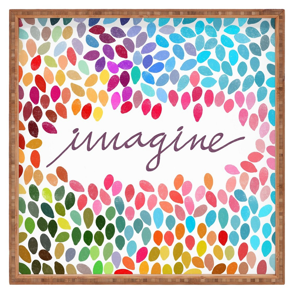 Garima Dhawan Imagine 1 Square Tray - Pink - Deny Designs, Multi-Colored