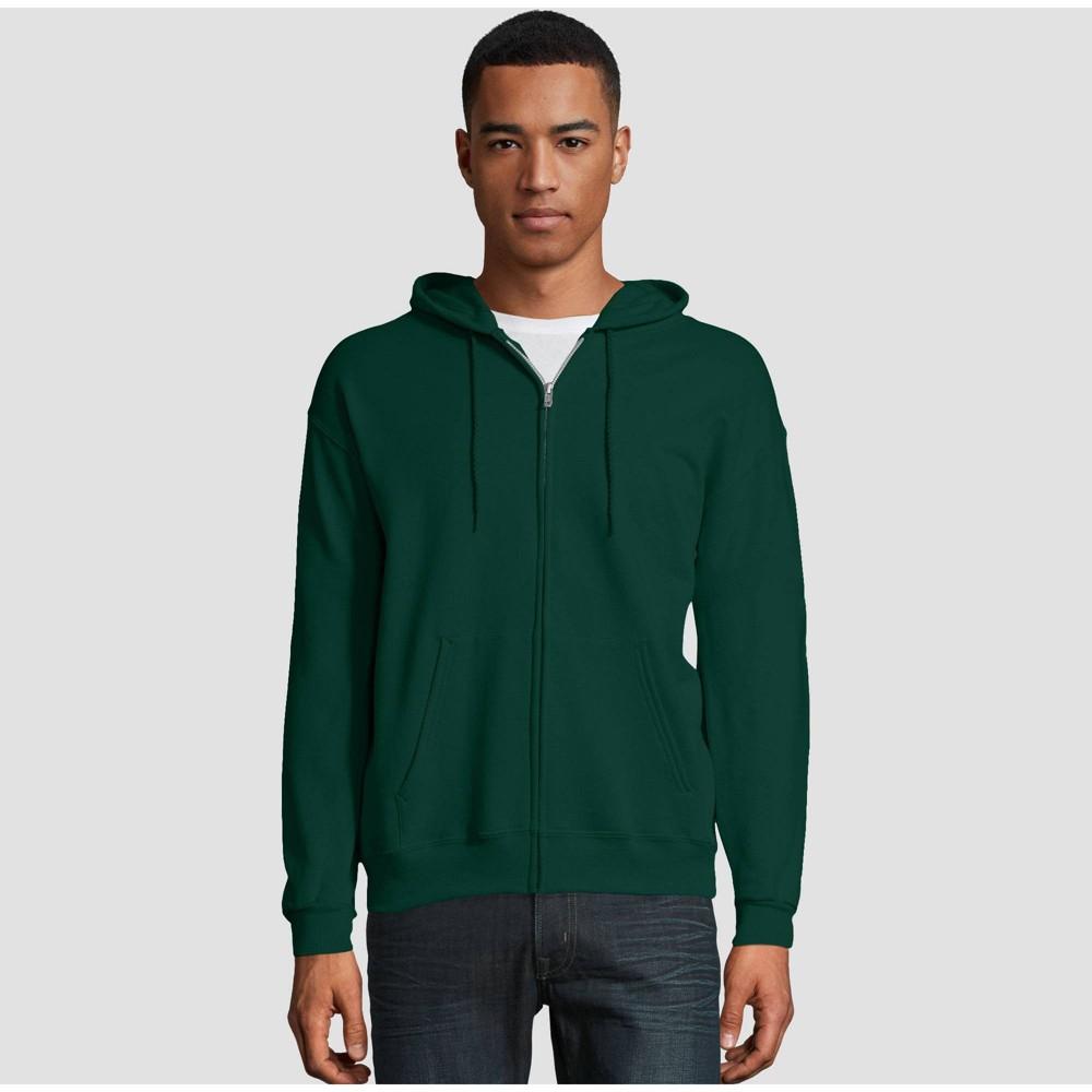 Hanes Men 39 S Ecosmart Fleece Full Zip Hooded Sweatshirt Dark Green Xl