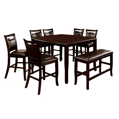 MiBasics 8pc Rounded Counter Dining Table Set Wood/Espresso