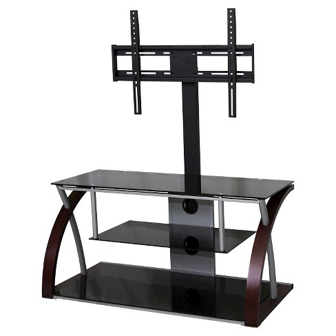 "Metal and Glass TV Stand Black 45"" - Home Source - image 1 of 2"