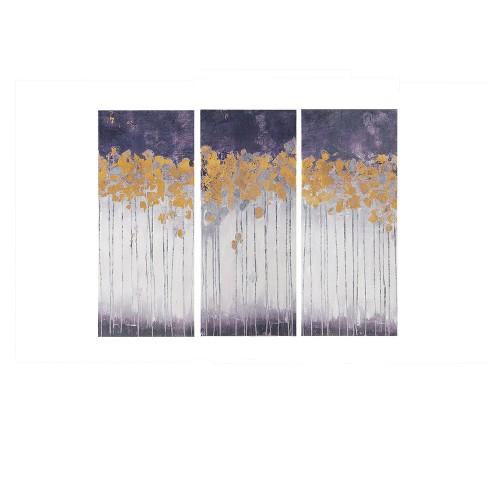 Midnight Forest Violet Gel Coat Canvas 3pc Decorative Wall Art Set ...