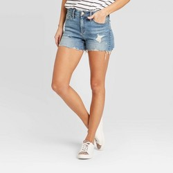 Women's High-Rise Distressed Jean Shorts - Universal Thread™ Medium Wash