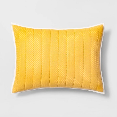 Pillow Sham Double Weave Dot Yellow - Hearth & Hand™ with Magnolia - image 1 of 4