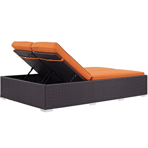 Convene Double Outdoor Patio Chaise Orange Modway