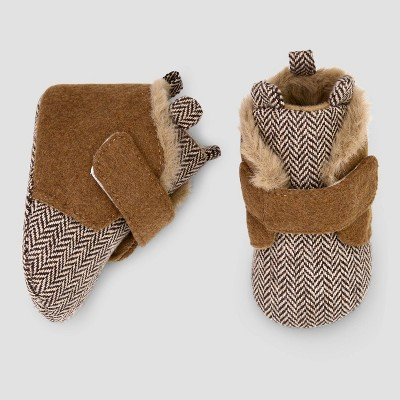 Baby Boys' Hi Top Wool Bear Crib Shoes - Cat & Jack™ Brown 3-6M