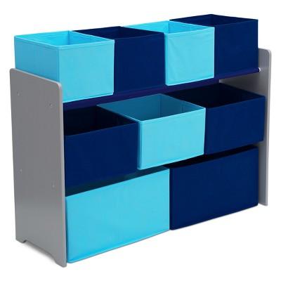 Delta Children Deluxe Multi-Bin Toy Organizer with Storage Bins - Grey/Blue Bins