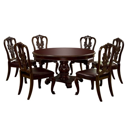 Sun & Pine 7pc Elegant Round Table Dining Set Wood/Brown Cherry - image 1 of 4