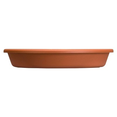 HC Companies Indoor Outdoor Classic Plastic 17.63 Inch Round Plant Flower Pot Planter Deep Saucer Drip Tray for 20 Inch Flower Pots, Clay Brown