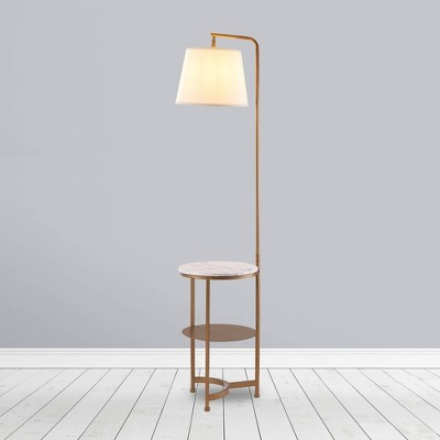 """64"""" Taelyn Contemporary Floor Lamp with Table and Built-In USB Copper/White Marble - Teamson Home"""