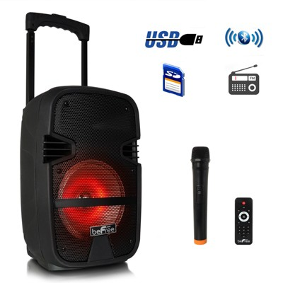 beFree Sound 8in 400 Watt Bluetooth Portable Party PA Speaker System with Illuminating Lights