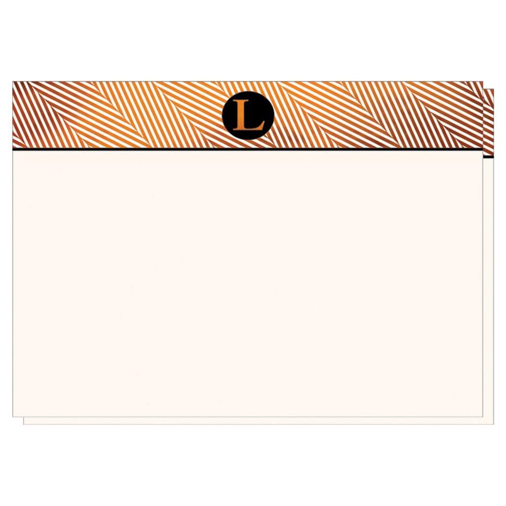 Herringbone Notecards Monogram L - 12ct, White