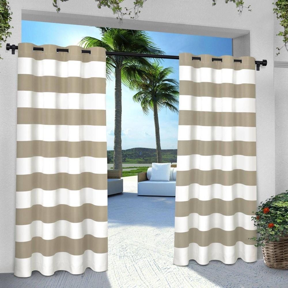 Indoor Outdoor Cabana Stripe Grommet Top Window Curtain Panel Pair Taupe 54 X84 Exclusive Home