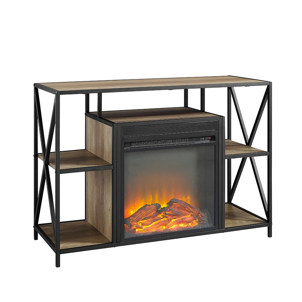 "Image of ""40"""" X Frame Open Shelf Fireplace Rustic Oak - Saracina Home, Rustic Brown"""