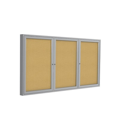 Ghent 3 Door Enclosed Natural Cork Bulletin Board with Satin Frame 4'H x 8'W PA34896K