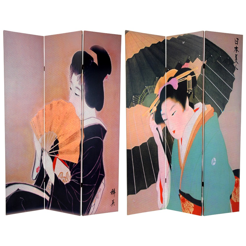 6' Tall Double Sided Geisha Room Divider - Oriental Furniture, Multicolored