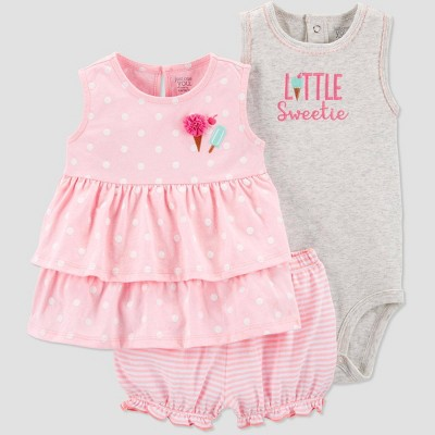 Baby Girls' 3pc  Little Sweetie  Top and Bottom Set - Just One You® made by carter's Pink/Gray 12M