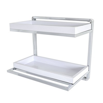 2 Tier Wall Mount Shelving Unit with Towel Rack and Trays Chrome/White - Danya B.