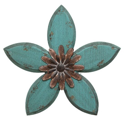 "14.75"" x 13.98"" Antique Flower Wall Decor Red/Teal - Stratton Home Décor"