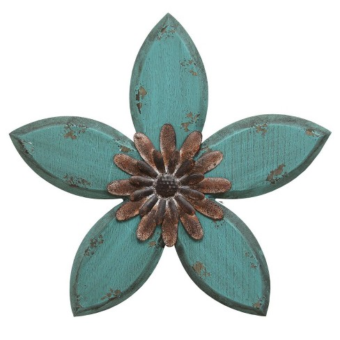 14 75 X 13 98 Antique Flower Wall Decor Red Teal Stratton Home Dcor Target
