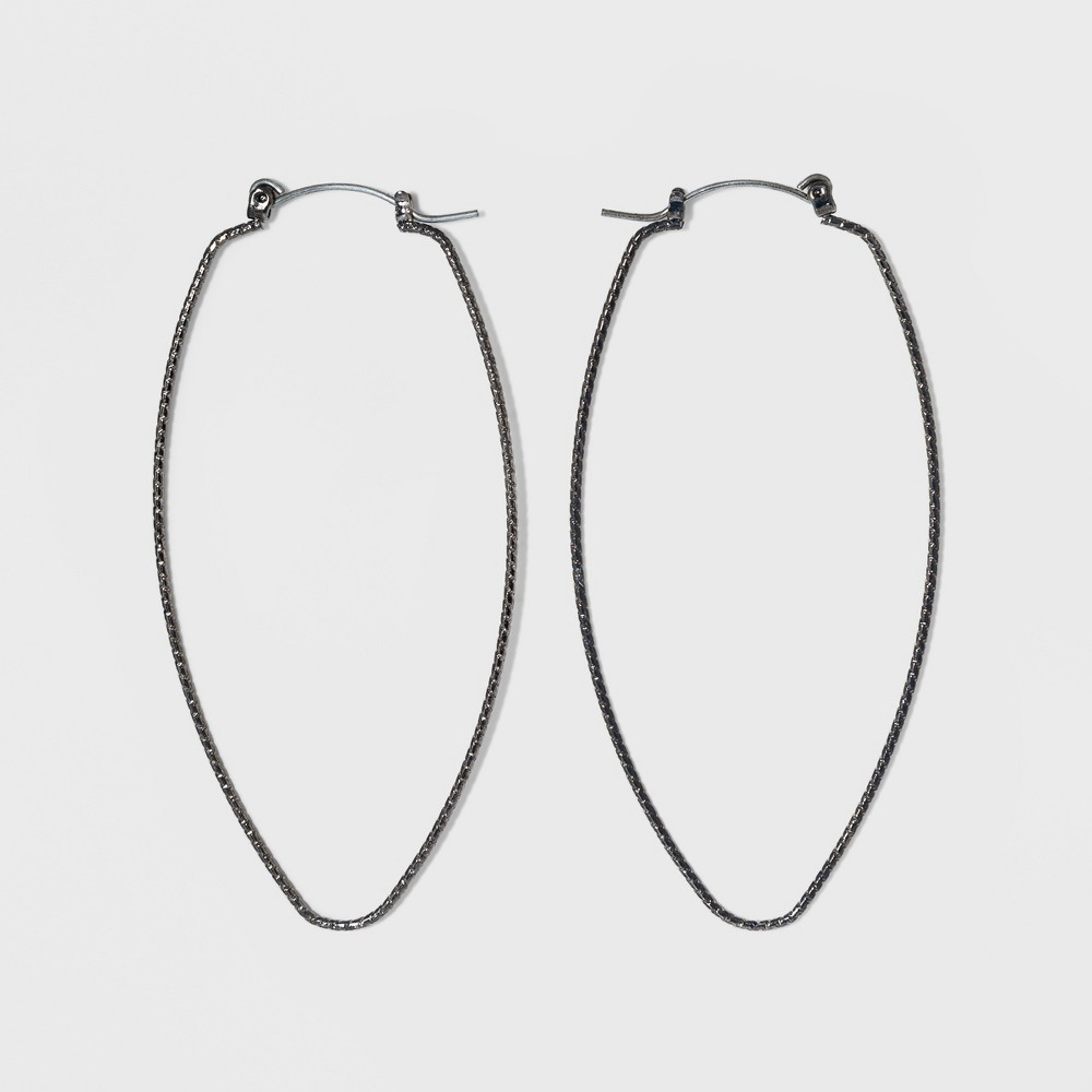 Open Marquis Shape with Textured Wiring Earrings - A New Day Hematite