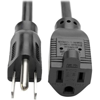 Tripp Lite Power Extension Cord 18 AWG 10A NEMA 5-15R to NEMA 5-15P 12ft 12' - 120 V AC Voltage Rating - 10 A Current Rating - Black