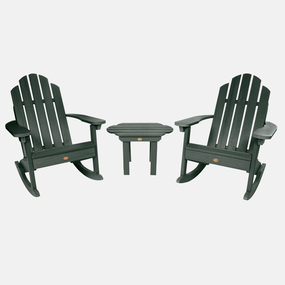 Image of 3pc Classic Westport Adirondack Rocking Chair Patio Set Charleston Green - highwood