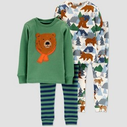 Toddler Boys' 4pc Bear & Forest 100% Cotton Pajama Set - Just One You® made by carter's Green