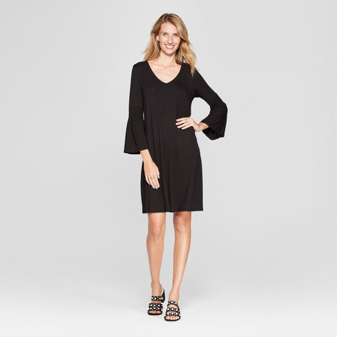 Womens Ruched Bell Sleeve Knit Swing Dress Target